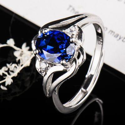 s925银戒指女纯银2020韩版百搭开口闺蜜网红指环合成蓝宝石戒指女