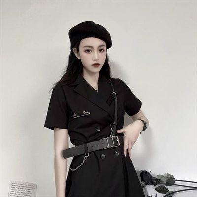 阿玛尼挖空连衣裙新款气质裙子2020黑色连衣裙女短袖双排扣西装裙