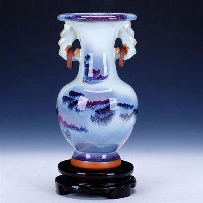 景德镇陶瓷器 钧瓷仿古开片花瓶现代家居客厅装饰工艺品古典摆件
