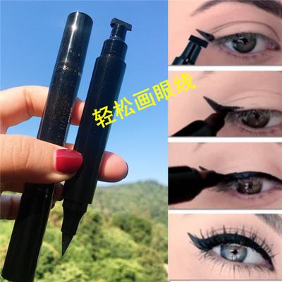 欧美妆黑色新手眼线笔膏双头速干三角印章马克防水不晕染眼线液笔