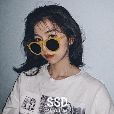 2019新款韩版网红街拍复古时尚墨镜女潮度假ins圆脸太阳镜眼镜男