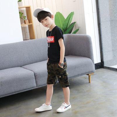 童装男童夏装中大童韩版帅气短袖t恤儿童夏季迷彩套装男孩短裤潮