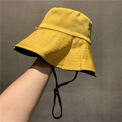 盆帽女韩版学生双面色可戴防紫外线帽子男青少年7色可选夏太阳帽