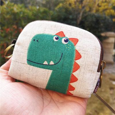 送手绳韩版新款棉麻印花卡通零钱包 钥匙包短款钱包布艺零钱包女