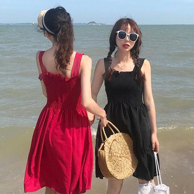 夏季新款木耳边压褶吊带连衣裙款韩版无袖抹胸显瘦打底裙背带裙