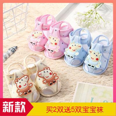 童凉鞋夏秋0-6-12月婴儿鞋子女宝宝软底防滑学步鞋蕾丝透气不掉鞋