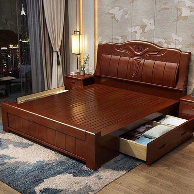 加厚实木床1.8米双人床现代简约木床1.5m中式高箱储物主卧婚床