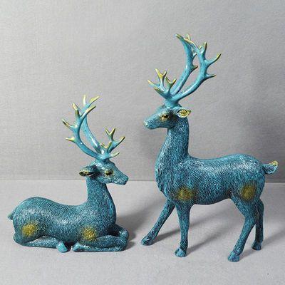 美式创意招财鹿摆件客厅酒柜电视柜装饰品工艺品礼品乔迁结婚礼物