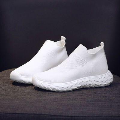 袜子鞋女2020夏季新款网红女鞋网面飞织潮鞋高帮小白鞋软底运动鞋