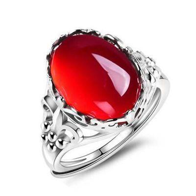 红玛瑙玉髓纯银戒指女活口开口不掉色可调节s925银戒指送妈妈礼物
