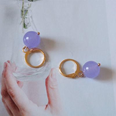 天然紫水晶耳环14K包金耳扣短款耳环复古民族风耳饰原创手工定制