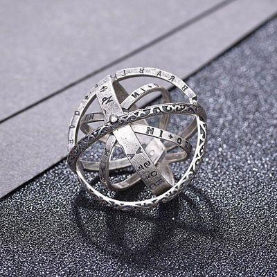天文球s925银戒指女ins潮韩版网红纯银时尚二合一魔戒项链送女