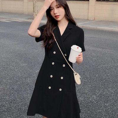 气质鱼尾西装裙黑色连衣裙女夏小个子轻熟风双排扣收腰显瘦女神范