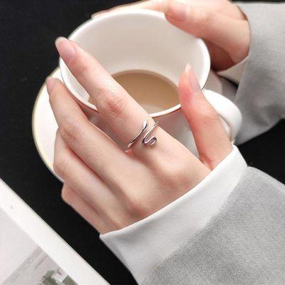 爱洛奇 s925银韩版气质个性蛇形戒指女时尚设计指环简约小蛇手饰
