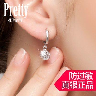 长款925纯银耳环女耳钉水晶钻耳扣耳圈网红同款耳坠气质韩版礼物