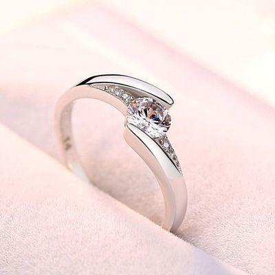 S925纯银戒指女纯银韩版尊贵气质经典活口闭口女戒韩版钻戒镶钻