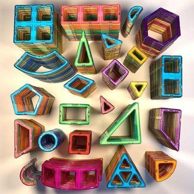 纯磁力片散片散装单片磁铁积木吸铁石正方形磁性男孩儿童益智玩具