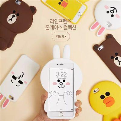 卡通手机壳苹果5/se布朗熊87可爱X/4s立体小猪6plus少女心/硅胶套