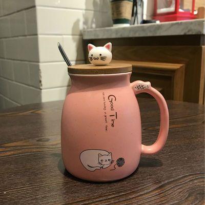可爱超萌猫咪马克杯女陶瓷牛奶杯情侣款咖啡杯子家用燕麦早餐水杯