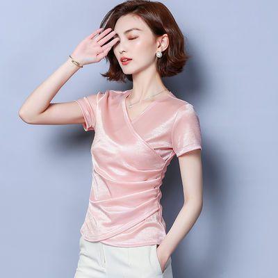 美欧哥弟菲正品牌仿真丝衬衫女2019夏装新款气质短袖t恤衫V领上衣