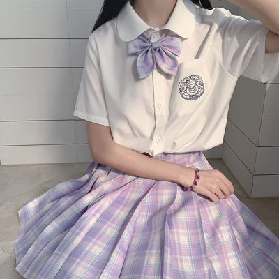 现货多色JK夏季jk制服套装新款芒硝风琴褶衬衫韩版学院学生女日系