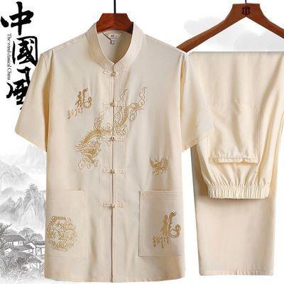 唐装套装男士短袖中老年人春夏爷爷衬衫中式刺绣爸爸晨练服汉服薄