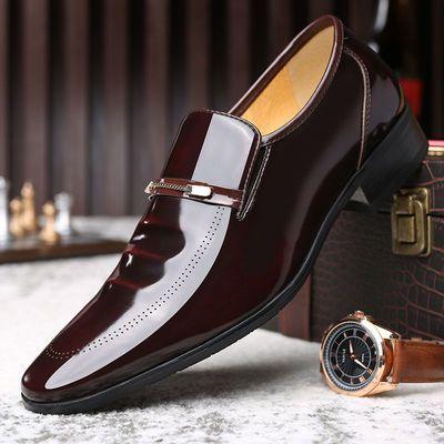 蜻蜓牌皮鞋男士休闲真牛皮软皮夏季韩版潮流商务正装英伦尖头婚鞋