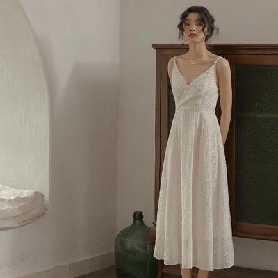 白色法式V领夏吊带重工刺绣闪闪仙女礼服裙度假裙文艺优雅连衣裙