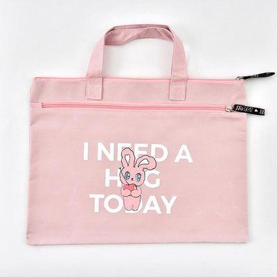 小清新可爱文件袋横式资料袋子手提双层补习袋帆布学生拉链袋加厚