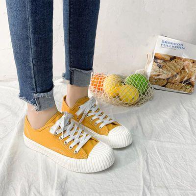 韩国焦糖饼干鞋女男情侣后厚底复黄色网红绿色黑色复古低帮小白鞋