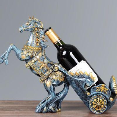 创意摆件马拉车红酒架欧式高档奢华酒柜装饰品客厅家居乔迁礼物