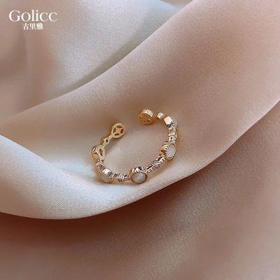 小圆形戒指女日系轻奢时尚个性ins潮冷淡风简约小素圈食指指环
