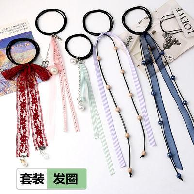 流苏长丝带缎带发圈套装蕾丝飘带古风发饰花朵头绳超仙扎马尾发绳
