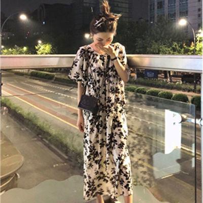 连衣裙2020新款女装韩版裙子女夏季碎花宽松大码显瘦法式慵懒长裙