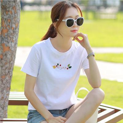100%纯棉白色短袖t恤女韩版宽松半袖2020年新款夏刺绣圆领上衣女