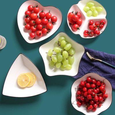 桃心型绿陶瓷水果沙拉碗创意菜品摆盘可爱牛排餐盘家用北欧风