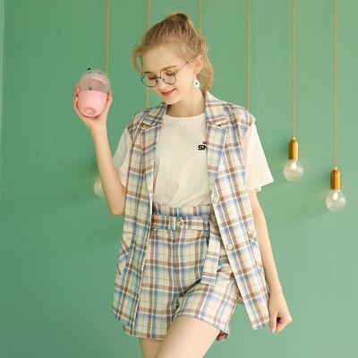 库恩玛维轻熟套装港味格子西装马甲短裤两件套女夏2020年新款洋气