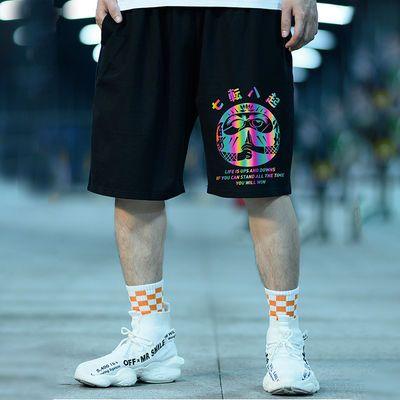 五分裤潮牌反光加肥加大裤子男宽松大裤衩篮球运动短裤男潮流中裤