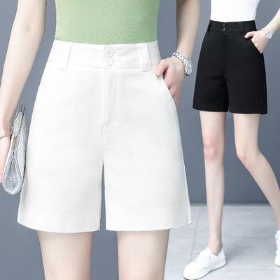 白色短裤女夏宽松2020新款高腰直筒西装短裤中裤显瘦阔腿四分裤薄