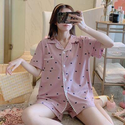 夏季开衫薄款睡衣女士短袖韩版可爱学生公主风家居服桃心两件套装