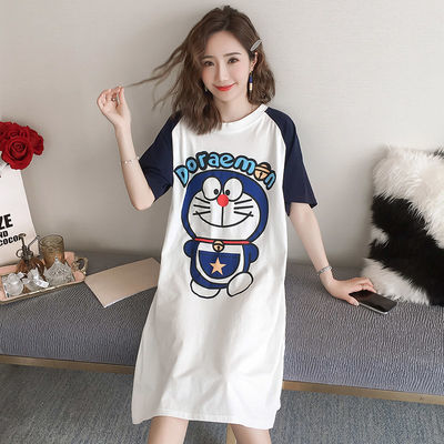 大码睡衣女夏季薄款韩版宽松可爱学生卡通睡裙女士夏天短袖家居服