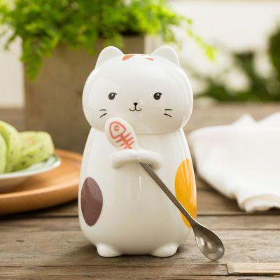 可爱猫咪陶瓷杯子卡通马克杯带盖勺女生喝水杯办公室杯咖啡杯森系