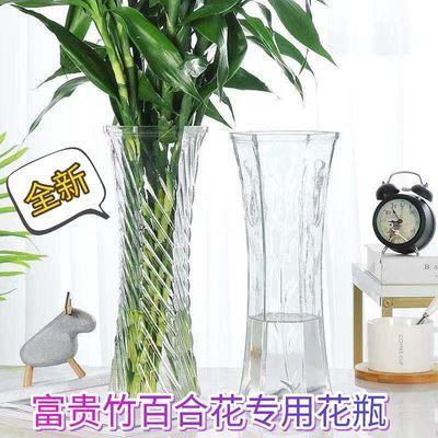 透明玻璃花瓶办公桌酒店宾馆客厅陶瓷花盆摆放富贵竹百合花插干花