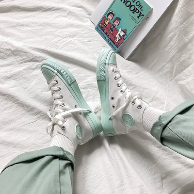 夏季初恋绿高帮帆布鞋女鞋子春秋2020潮鞋百搭网红板鞋韩版学生鞋