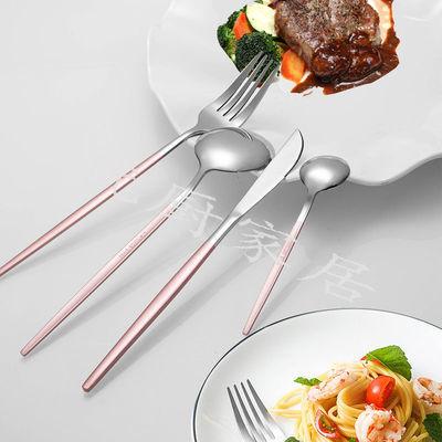 网红不锈钢西餐餐具牛排刀叉加厚不锈钢刀叉勺三件套装家用
