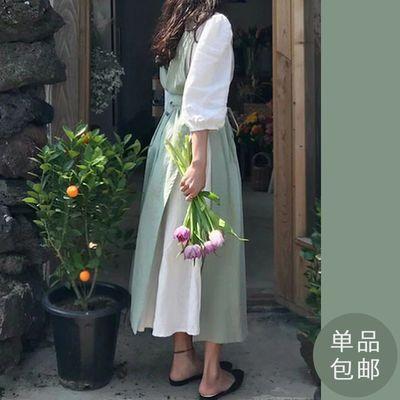 韩式ins法式棉麻复古文艺围裙 花艺师工作服 日系简约百搭可印字