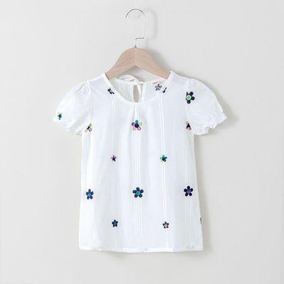 女童短袖T恤夏季韩版时尚新款宝宝纯棉绣花宽松版上衣儿童娃娃衫