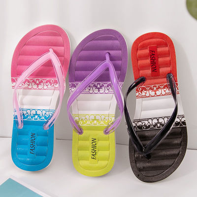 夏季新款人字拖女鞋夹脚家用气垫舒适渐变色学生凉拖鞋海边沙滩拖