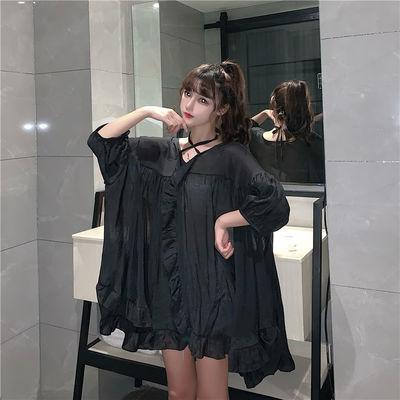 荷叶边超仙连衣裙2020夏季新款宽松气质A字短裙韩版女装时尚裙子