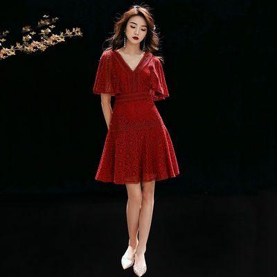 小个子敬酒服新娘夏平时可穿酒红色回门便装日常订婚衣服连衣裙女